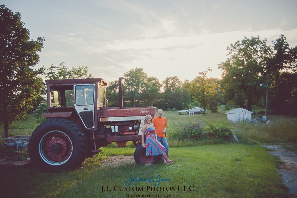 Greenfield Indiana Engagement Wedding Photographer Photography Photos Portraits Session JL Custom Photos J.L.CustomPhotos Jessica Green Jessica Legler Farm Harley Tractor Barn-21