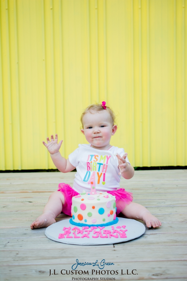 J.L.CustomPhotos Greenfield, IN Indiana 46140 Baby One Year Old Photographer Cake Smash Pink Tutu American Flag Family Jessica Green Photography-18