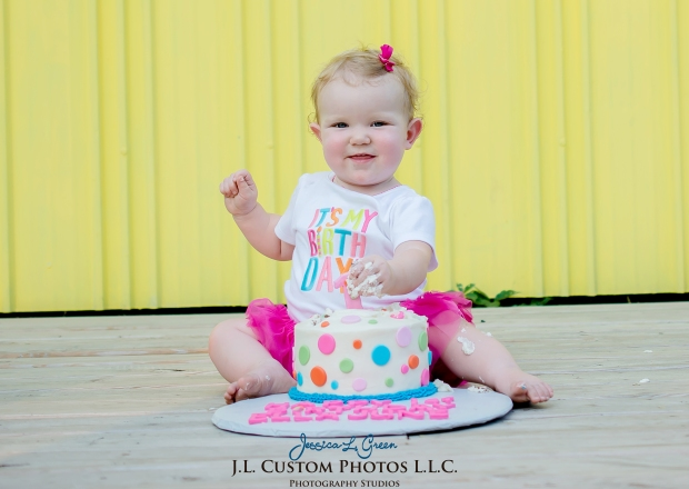 J.L.CustomPhotos Greenfield, IN Indiana 46140 Baby One Year Old Photographer Cake Smash Pink Tutu American Flag Family Jessica Green Photography-20