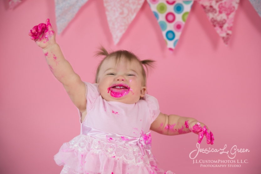 Greenfield, Photographer, J.L.CustomPhotos, Child, Cake Smash, Baby girl, Indiana, one year, portraits, Shelbyville, Knightstown, Pink-2764