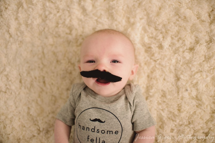 Greenfield, Indiana, Photography, Photographer, Photos, Jessica, Green, Greenfield, IN, JLCustom Photography, Jessica Green, Legler, Jessica Legler, Jessica Green Photography, 46140, Central Indiana, Indianapolis, Newborn,Little boy,Happy,Handsome,Mustache,Fake Mustache
