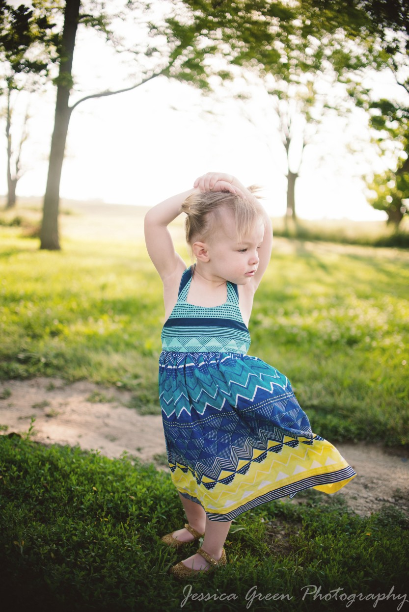 Greenfield, Indiana, Photography, Photographer, Photos, Jessica, Green, Greenfield, IN, JLCustom Photography, Jessica Green, Legler, Jessica Legler, Jessica Green Photography, 46140, Central Indiana, Indianapolis, Little girl , Sundress, Sunset , Pigtails , Green , Spring , happy